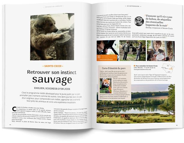 """Direction artistique et mise en page du magazine """"Voyages en Lorraine"""" 2015 / pp 16-17"""