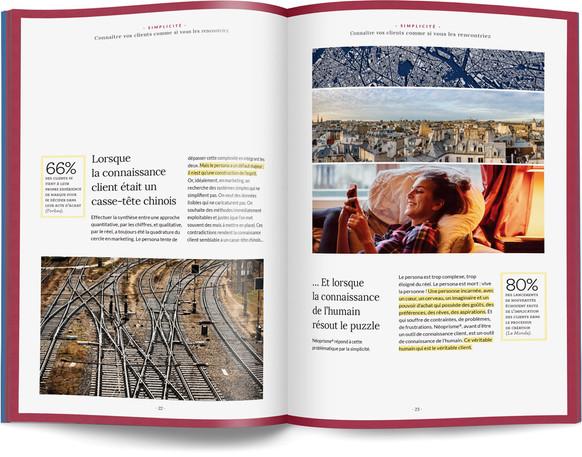 """Direction artistique, illustration et mise en page du """"Petit livre de la connaissance client par Néoprisme"""" pour le Groupe Cartégie / pp 22-23"""