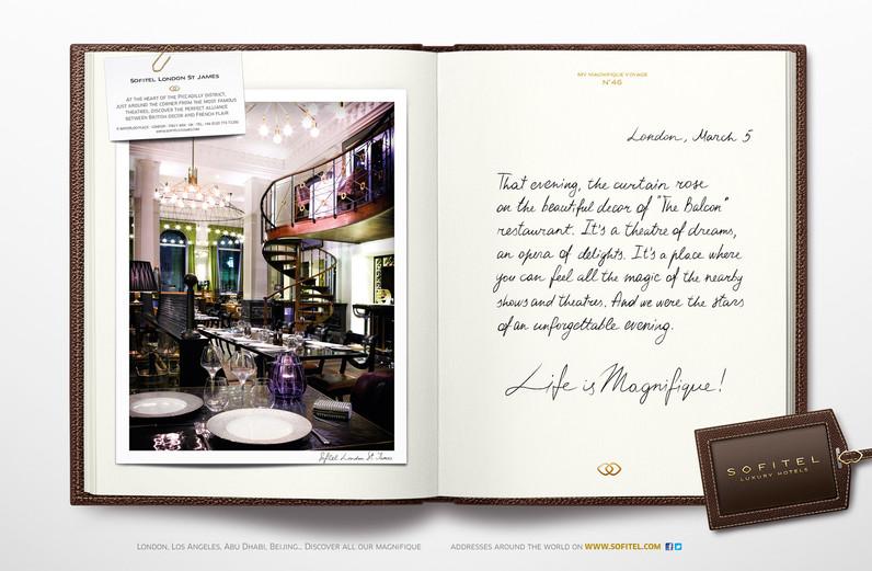 """Calligraphie pour la campagne publicitaire de Sofitel """"Carnet de voyages"""", Groupe Accor – Sofitel London"""