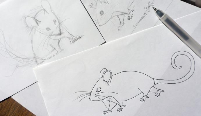 """Design textile d'un grand châle en laine """"Gare à toi, petite souris"""" pour """"Ania Axenova – Paris"""" / petites souris"""