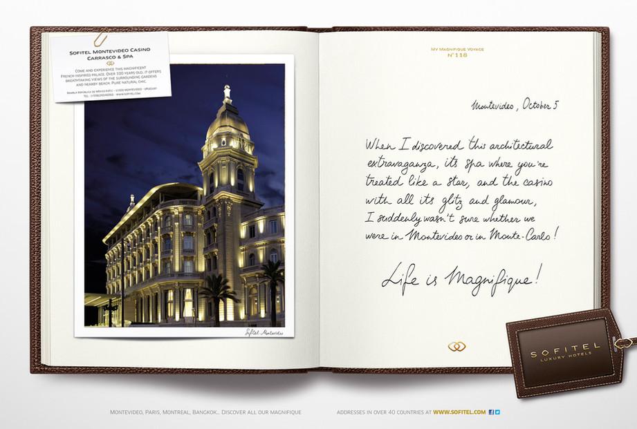 """Calligraphie pour la campagne publicitaire de Sofitel """"Carnet de voyages"""", Groupe Accor – Sofitel Montevideo"""