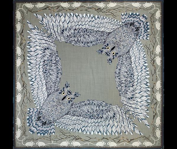 """Design textile d'un grand châle en laine """"Gare à toi, petite souris"""" pour """"Ania Axenova – Paris"""""""