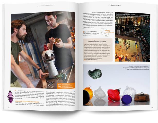 """Direction artistique et mise en page du magazine """"Voyages en Lorraine"""" 2015 / pp 33-34"""