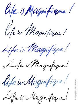 """Différents styles de calligraphie de la signature """"Life is magnifique"""" pour la campagne publicitaire de Sofitel """"Carnet de voyages"""", Groupe Accor"""