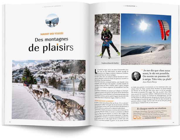 """Direction artistique et mise en page du magazine """"Voyages en Lorraine"""" 2015 / pp 14-15"""