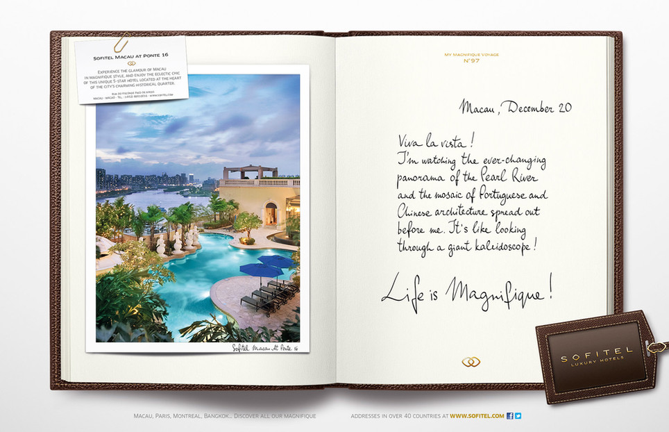 """Calligraphie pour la campagne publicitaire de Sofitel """"Carnet de voyages"""", Groupe Accor – Sofitel Macao"""