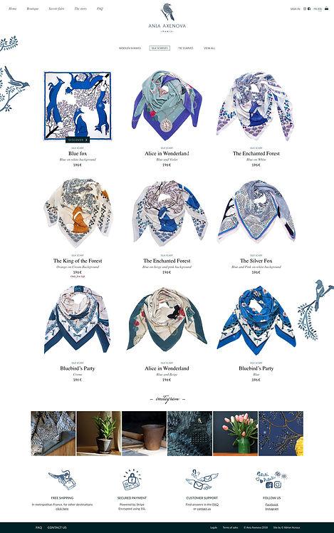 """Direction artistique et web-design du site pour """"Ania Axenova – Paris"""" / page shop"""