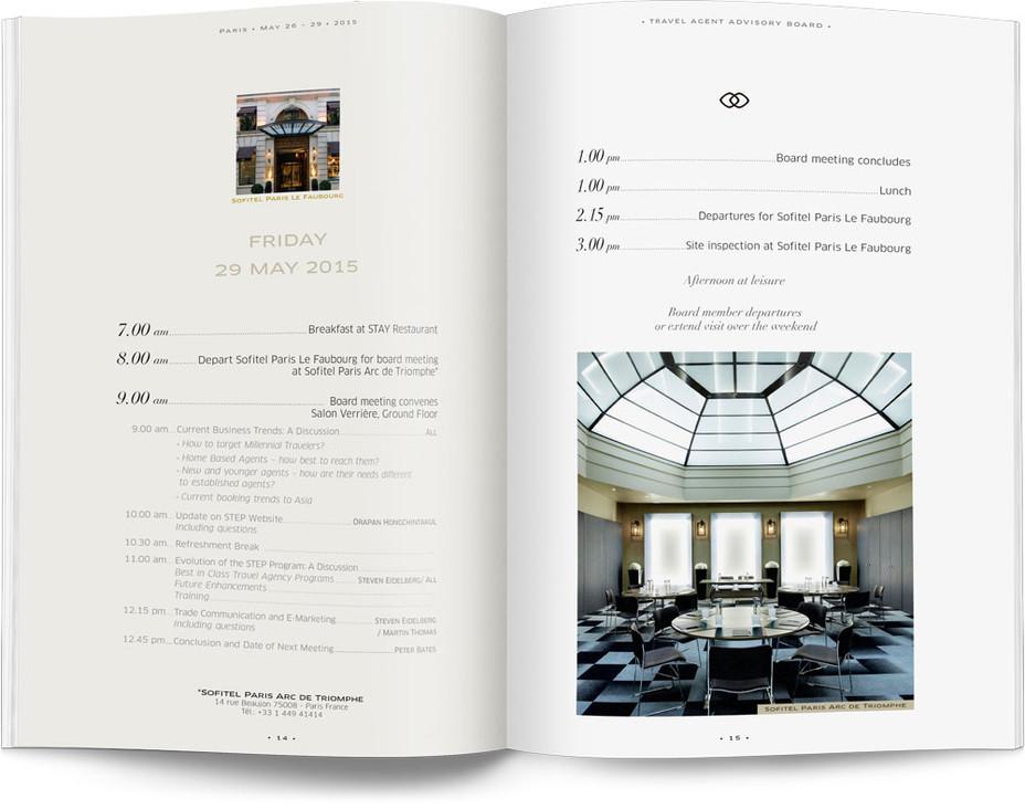 Direction artistique et mise en page d'une brochure de 64pages pour Sofitel, Groupe Accor / pp 14-15