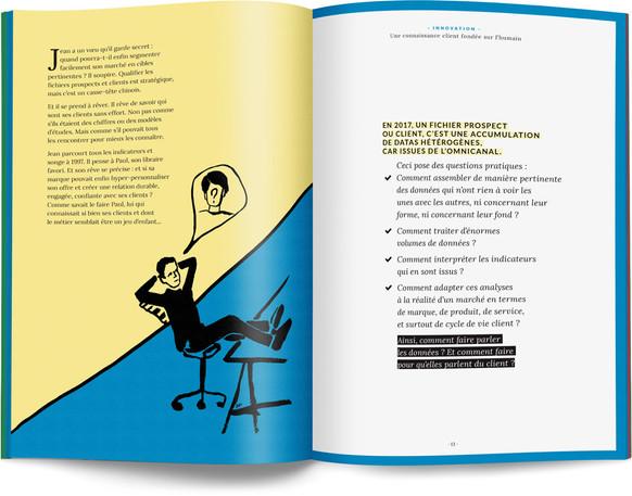 """Direction artistique, illustration et mise en page du """"Petit livre de la connaissance client par Néoprisme"""" pour le Groupe Cartégie / pp 12-13"""