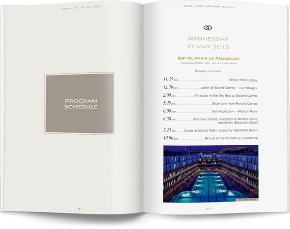 Direction artistique et mise en page d'une brochure de 64pages pour Sofitel, Groupe Accor / pp 8-9
