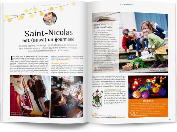 """Direction artistique et mise en page du magazine """"Voyages en Lorraine"""" 2016 / pp 44-45"""