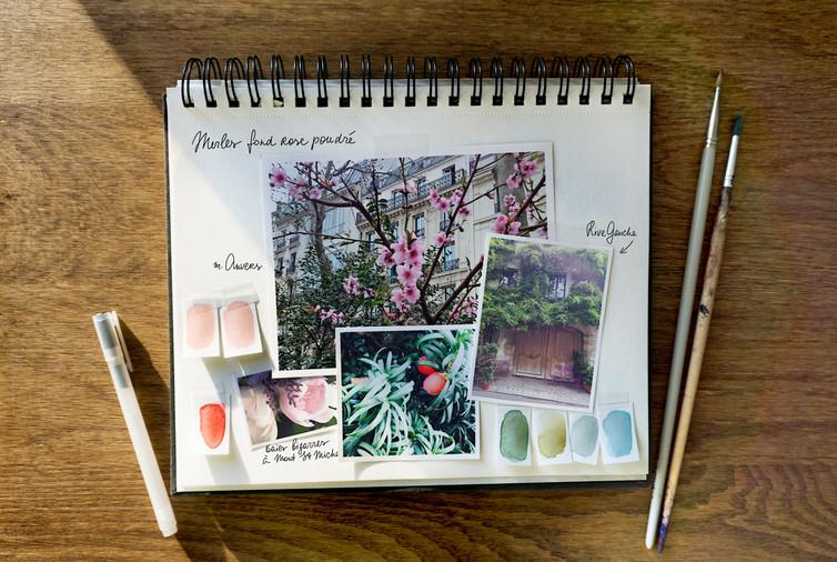 """Moodboard couleurs pour le châle """"Déjeuner dans l'arbre"""" pour """"Ania Axenova – Paris"""""""