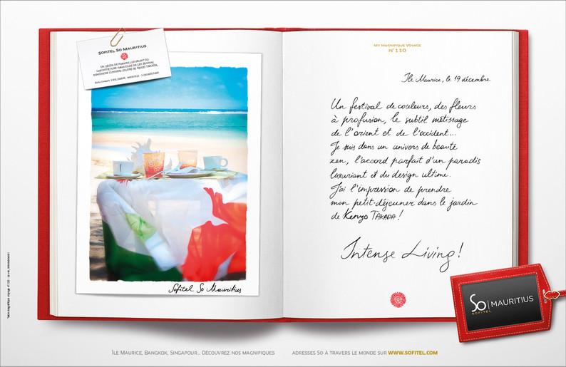 """Calligraphie pour la campagne publicitaire de Sofitel """"Carnet de voyages"""", Groupe Accor – Sofitel So Mauritius"""