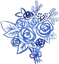 Illustrations à l'encre de Chine / bouquet de fleurs