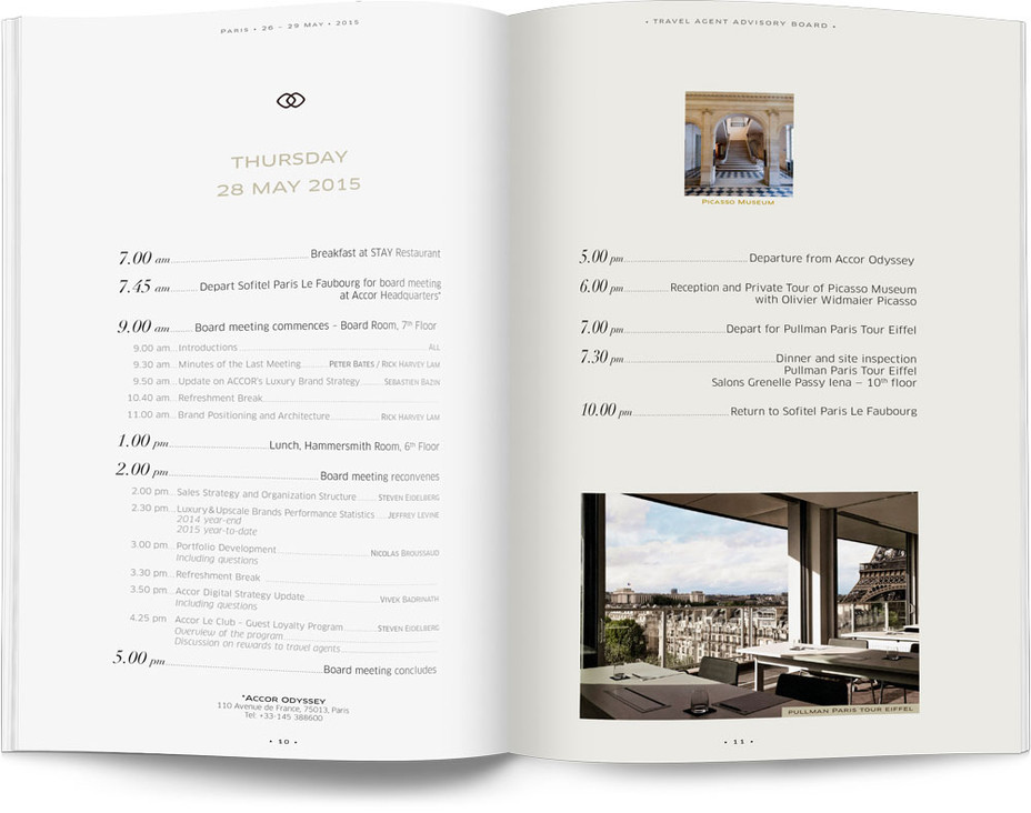 Direction artistique et mise en page d'une brochure de 64pages pour Sofitel, Groupe Accor / pp 10-11
