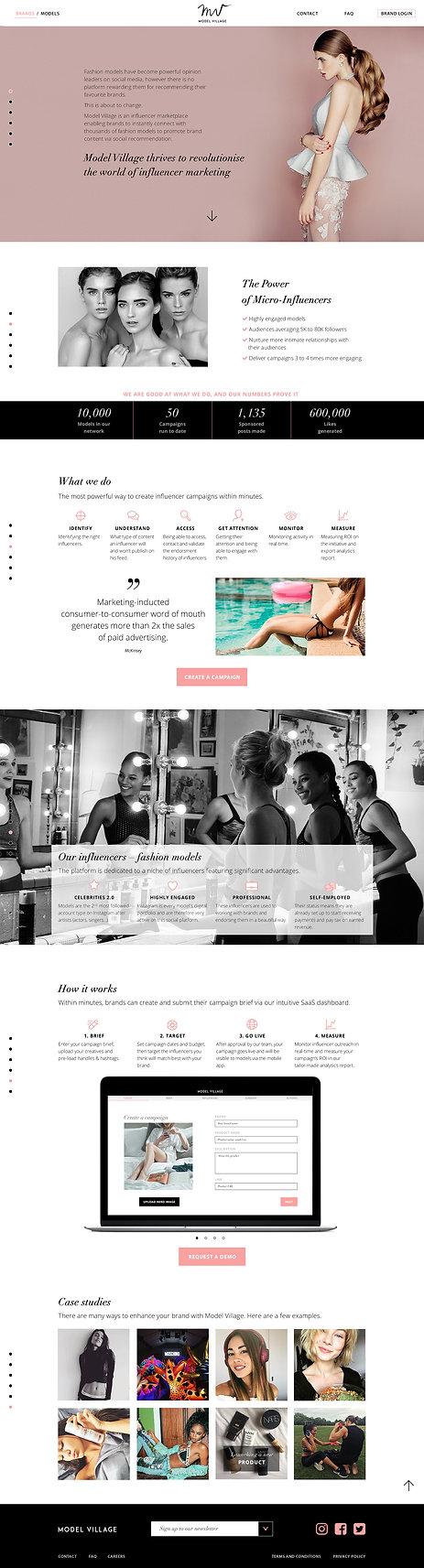 """Direction artistique et UX design pour le site vitrine """"Model Village"""" / Brands landing page"""