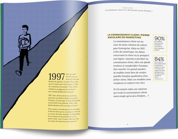 """Direction artistique, illustration et mise en page du """"Petit livre de la connaissance client par Néoprisme"""" pour le Groupe Cartégie / pp 8-9"""