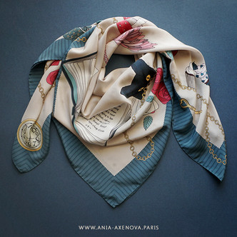 "Giant Silk Scarf ""Alice in Wonderland"" by ""Ania Axenova – Paris"""