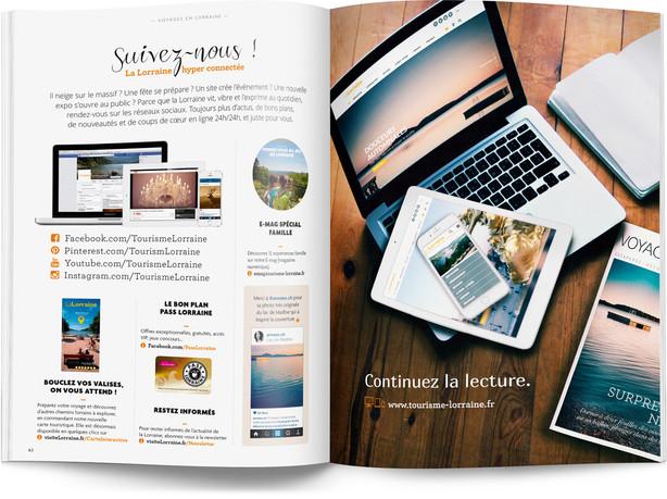 """Direction artistique et mise en page du magazine """"Voyages en Lorraine"""" 2016 / pp 62-63"""