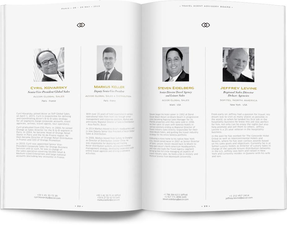 Direction artistique et mise en page d'une brochure de 64pages pour Sofitel, Groupe Accor / pp 22-23