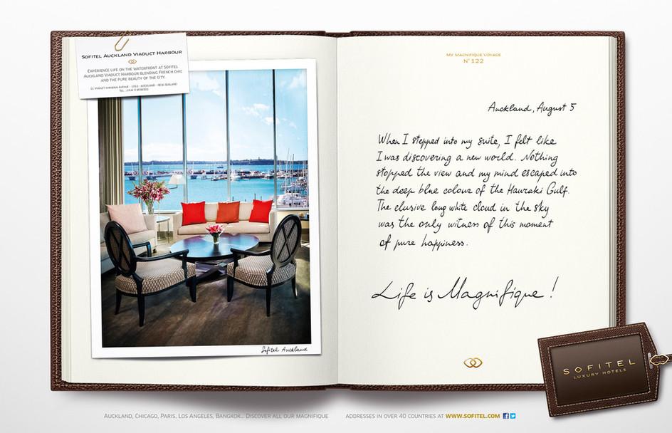 """Calligraphie pour la campagne publicitaire de Sofitel """"Carnet de voyages"""", Groupe Accor – Sofitel Auckland"""