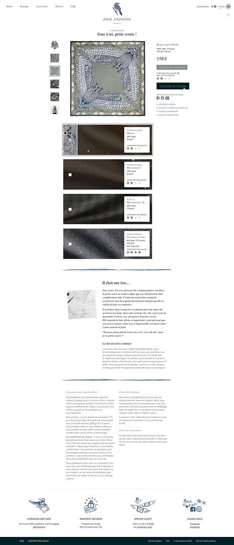 """Direction artistique et web-design du site pour """"Ania Axenova – Paris"""" / page châle"""