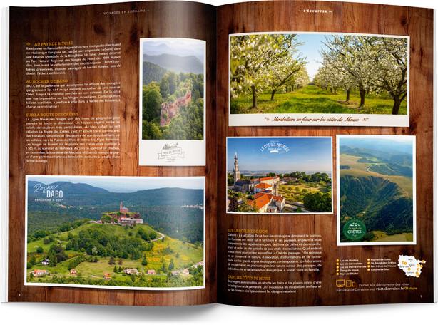 """Direction artistique et mise en page du magazine """"Voyages en Lorraine"""" 2016 / pp 8-9"""