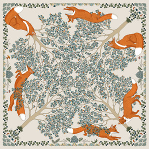 """Design de foulard """"Le Roi de la forêt"""" pour """"Ania Axenova – Paris"""""""