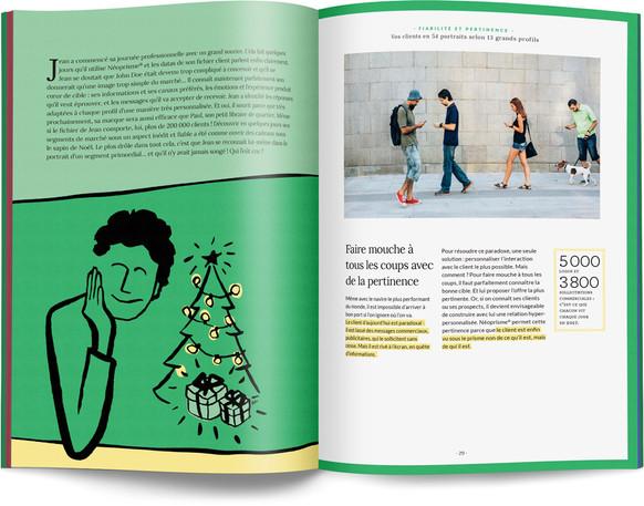 """Direction artistique, illustration et mise en page du """"Petit livre de la connaissance client par Néoprisme"""" pour le Groupe Cartégie / pp 28-29"""