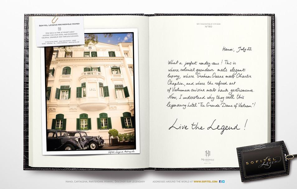 """Calligraphie pour la campagne publicitaire de Sofitel """"Carnet de voyages"""", Groupe Accor – Sofitel Legend Hanoi"""