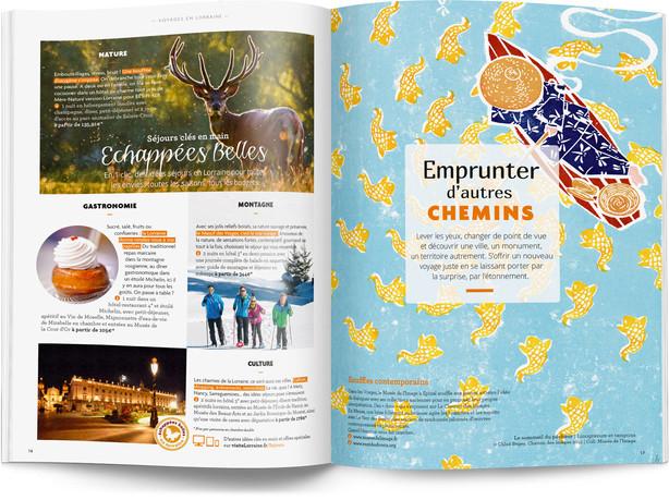 """Direction artistique et mise en page du magazine """"Voyages en Lorraine"""" 2016 / pp 14-15"""
