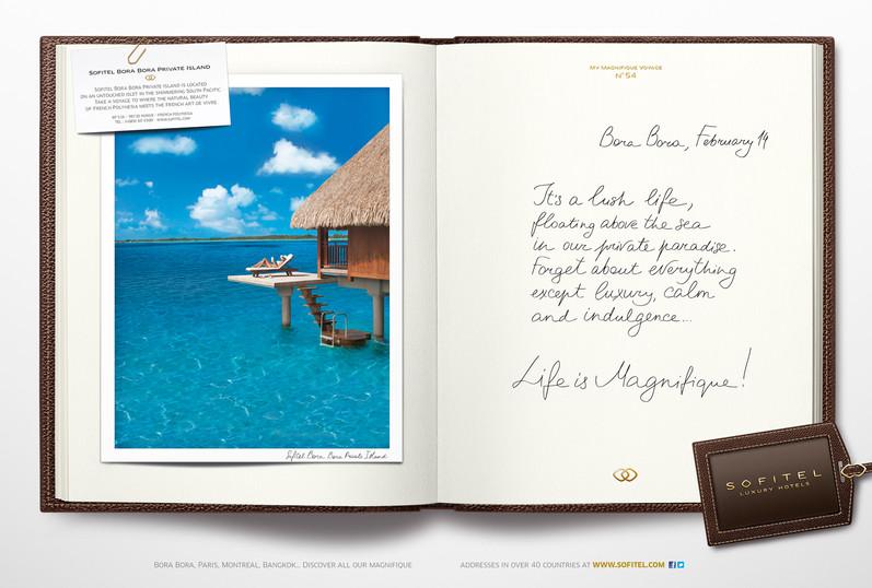 """Calligraphie pour la campagne publicitaire de Sofitel """"Carnet de voyages"""", Groupe Accor – Sofitel Bora Bora"""