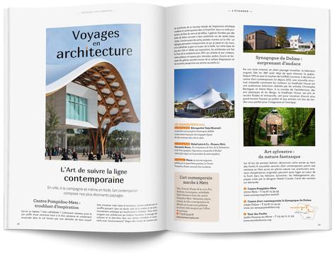 """Direction artistique et mise en page du magazine """"Voyages en Lorraine"""" 2015 / pp 22-23"""
