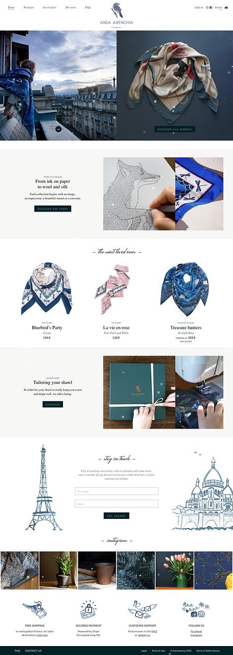 """Direction artistique et web-design du site pour """"Ania Axenova – Paris"""" / Home page"""