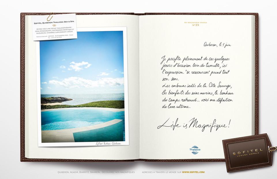 """Calligraphie pour la campagne publicitaire de Sofitel """"Carnet de voyages"""", Groupe Accor – Sofitel Quiberon"""