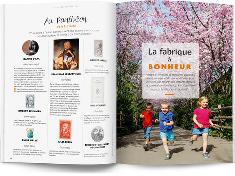 """Direction artistique et mise en page du magazine """"Voyages en Lorraine"""" 2016 / pp 36-37"""