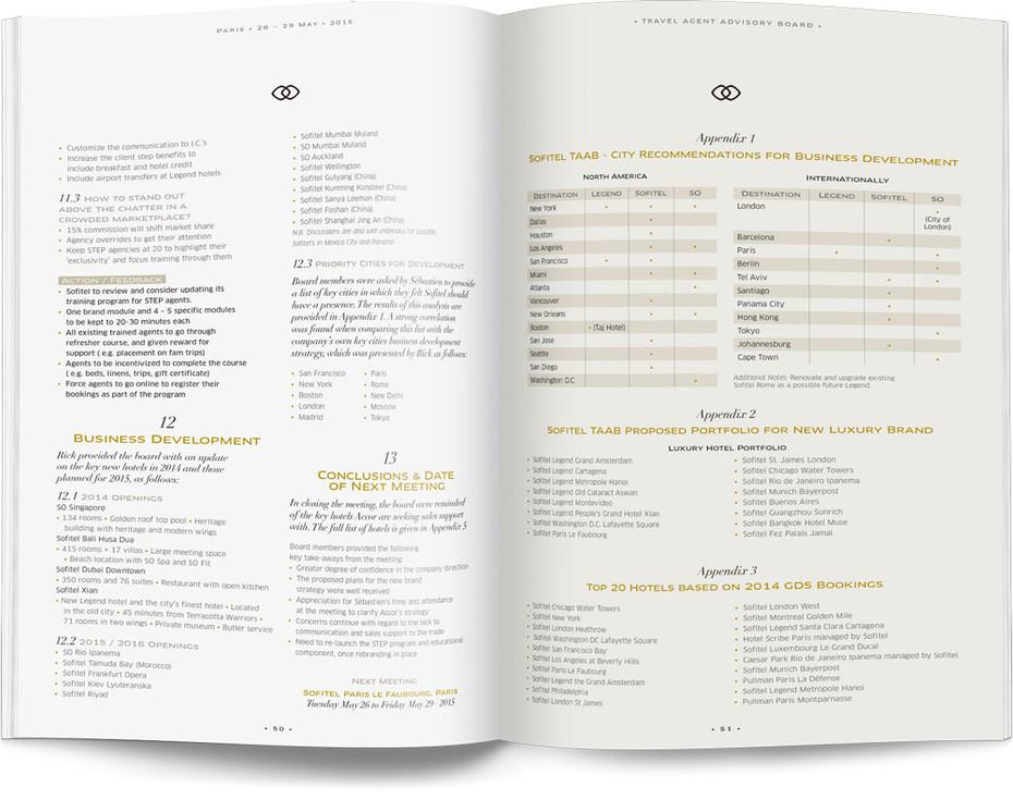 Direction artistique et mise en page d'une brochure de 64pages pour Sofitel, Groupe Accor / pp 50-51