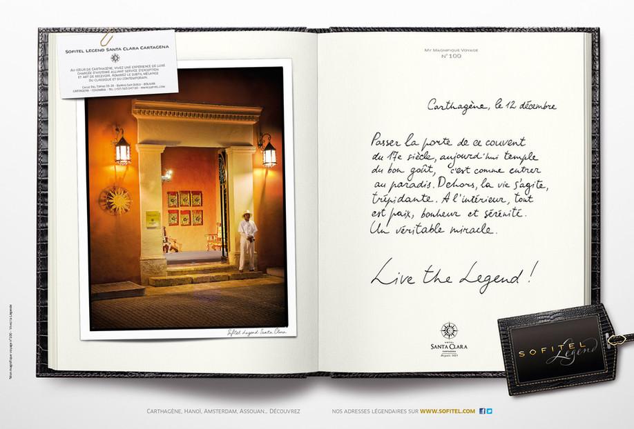"""Calligraphie pour la campagne publicitaire de Sofitel """"Carnet de voyages"""", Groupe Accor – Sofitel Legend Cartagena"""