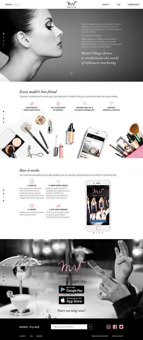 """Direction artistique et UX design pour le site vitrine """"Model Village"""" / Models landing page"""