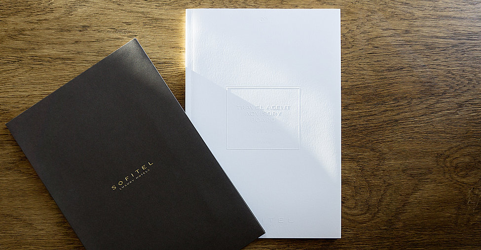 Direction artistique et mise en page d'une brochure de 64pages pour Sofitel, Groupe Accor / Couverture