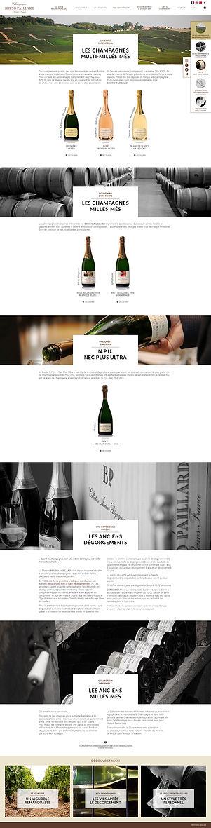 """Direction artistique et web-design de la page """"Nos Champagnes"""" du site """"Champagne Bruno Paillard"""""""