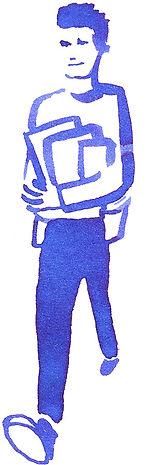 """Portrait de Jean revenant de la librarie / Illustration à l'encre de Chine pour """"Le Petit livre de la connaissance client par Néoprisme"""", Groupe Cartégie"""