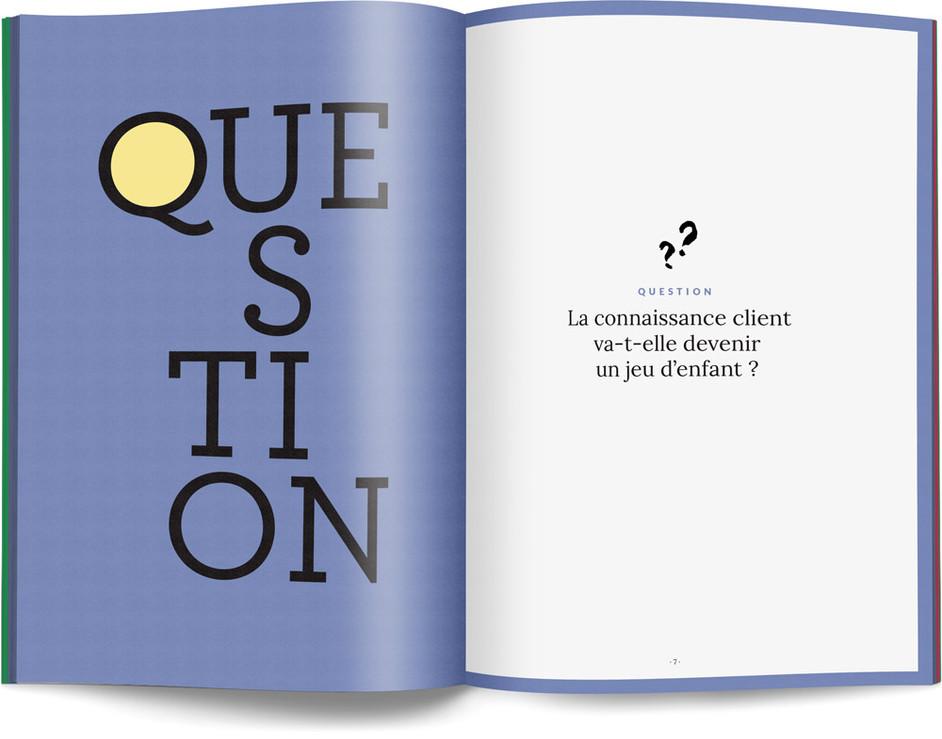 """Direction artistique, illustration et mise en page du """"Petit livre de la connaissance client par Néoprisme"""" pour le Groupe Cartégie / pp 6-7"""
