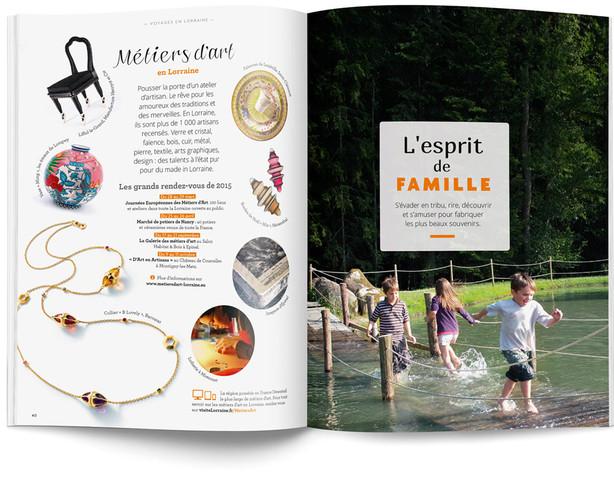 """Direction artistique et mise en page du magazine """"Voyages en Lorraine"""" 2015 / pp 40-41"""