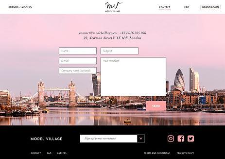 """Direction artistique et UX design pour le site vitrine """"Model Village"""" / contact page"""