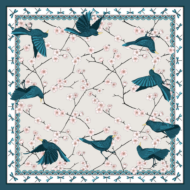 "Design Textile – Foulard de soie ""Bluebirds Party"" pour ""Ania Axenova – Paris"", version creme"
