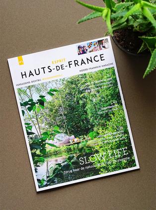 """Direction artistique et mise en page du magazine """"Esprit Hauts-de-France"""" / version néerlandaise"""