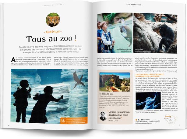"""Direction artistique et mise en page du magazine """"Voyages en Lorraine"""" 2016 / pp 38-39"""
