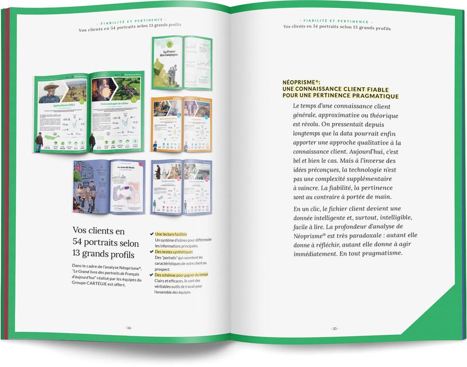 """Direction artistique, illustration et mise en page du """"Petit livre de la connaissance client par Néoprisme"""" pour le Groupe Cartégie / pp 34-35"""