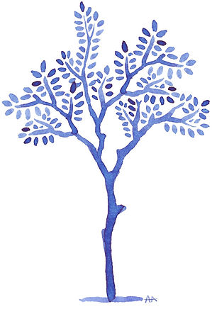 Illustrations à l'encre de Chine / arbre bleu